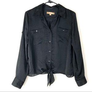 Ellen Tracy tie waist button front top